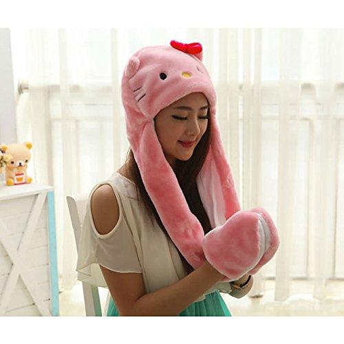 New Soft Warm Animal Cap Pink Kitty Stitch Giraffe Cute Cartoon Plush Hat Earmuffs With Long Scarf Gloves For Women Men Adult Child