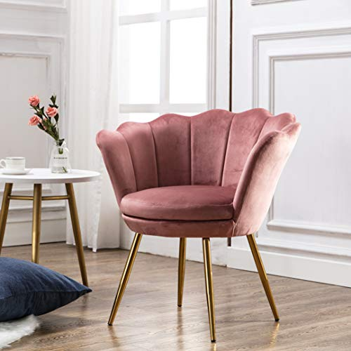 Comfy Upholstered Lotus Vanity Chair, Velvet Accent Armchair Single Sofa Gold Plating for Living Room/Bedroom(DustyRose Pink) (Lotus Chair)
