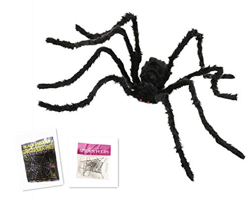 Halloween 150cm Giant Fake Spider Sets - Large Black Hairy Spider & 3.6m White Giant Spider Web with Super Stretch Cobweb for Outdoor Indoor Decor Yard Decorations
