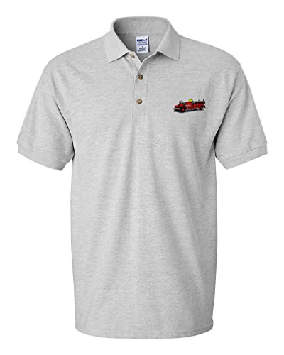 Antique Fire Truck Embroidery - Antique Fire Truck Embroidery Design Adult Cotton Short Sleeve Polo Shirt Oxford Gray 3X-Large