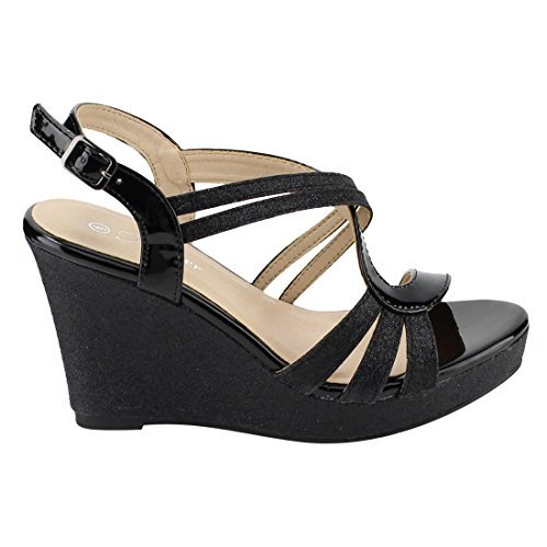 FOREVER FQ22 Women's Glitter Strappy Wrapped Wedge Heel Platform Sandals, Color Black, Size:8