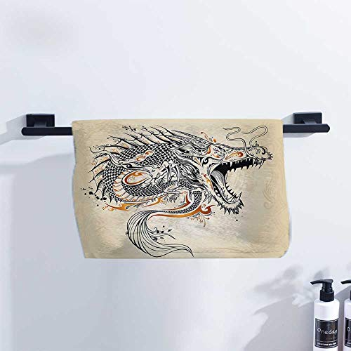 Japanese Dragon Cotton Towel Doodle Style Roaring Creature with Tail Fangs Scales Tribal Details Quick Drying and Highly Absorbent W10 x L10 Tan Black Gold ()
