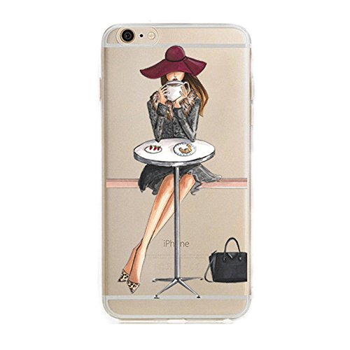 iPhone 8 Plus / 7 Plus Compatible, Bold City Girl Series Colorful Rubber Flexible Silicone Case Bumper for Apple Clear Cover - Royal Classic Coffee Time