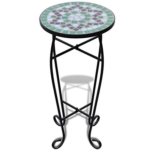 Moon Daughter Multi Color Contemporary Round Outdoor Bistro Table Mosaic Design Table Top Plant Stand Patio Garden