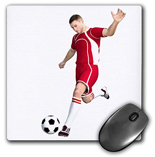 3dRose Boehm Graphics Sports - Soccer Player in Red and White Kicking Soccer Ball - Mousepad (mp_234171_1)