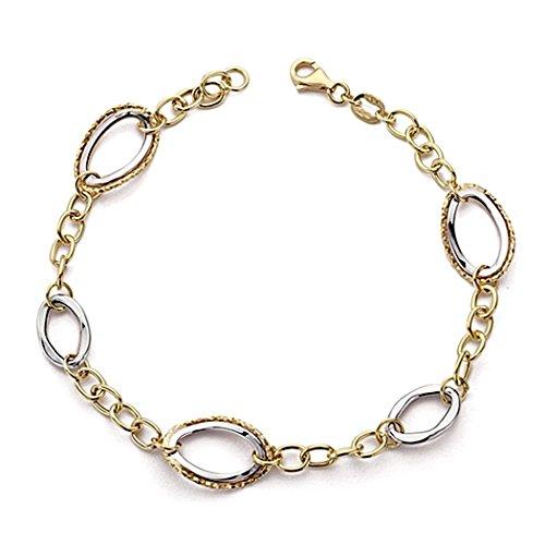Bracelet 18k or 19cm lumière bicolor. fermoir [7739]