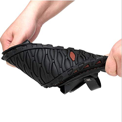 Vaca Zapatos De De Hombres YWNC Gran Tamaño Zapatillas Cuero De Fondo Nuevos Suave Sandalias Y Los Sandalias De Black De Piel wqa6OAqz
