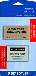 Staedtler Art Erasers, 1 ea Kneadable Eraser and 1-Each Art Gum Eraser, 525925BK