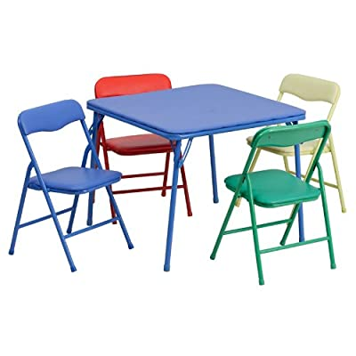 Emma + Oliver Kids Colorful 5 PC Folding Table and Chair Set Daycare Classroom: Kitchen & Dining
