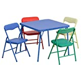 Kitchen Table and Chairs Set Kids Colorful 5 Piece Folding Table and Chair Set
