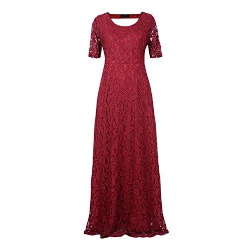 de cuello corta gran tamaño mujeres las de de Highdas elegante redondo tamaño las Encaje floral Rojo más manga Vestido de de Fiesta wXFAHZ7q