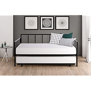 Modern Finlay Daybed with Trundle Combo, Twin Metal Bed Frame, Strong Sturdy Slats Support Memory Foam and Coil Mattresses, No Foundation or Box Spring Needed, Mattresses not Included