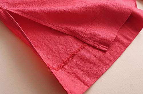 Cintura Insun Alta Rojo Mujer Pantalones Casual Hendidura De 7 Suelto Lino Con Lateral Largos 8 wBpBXqr