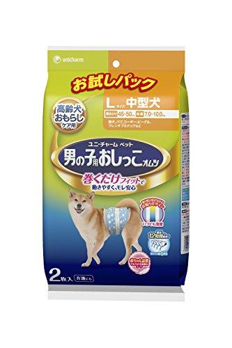 유니참 애완동물 케어 수컷용 소변 기저귀  L 사이즈 중형견 시험팩 2매 / 18매