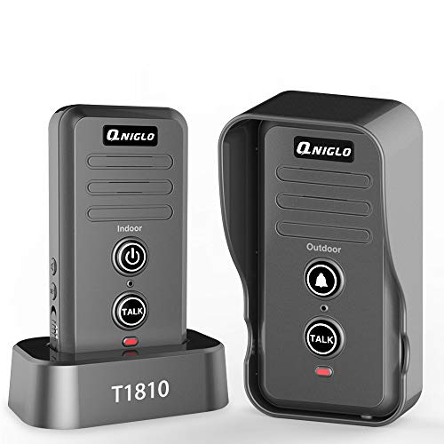 (Wireless Doorbell, QNIGLO Portable IP55 Waterproof Wireless Intercom Doorbell Operating at Over 2000 Feet, Rechargeable Two Way Talk Chime Kit for Home and Office (1 Receiver&1 Push Button))