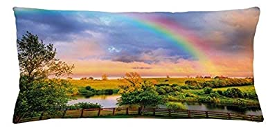 hanjear59 Rainbow Throw Pillow Cushion Cover, Kentucky Countryside with Lively Pastures River and a Rainbow, Decorative Square Accent Pillow Case, 36 X 16 Inches Hunter