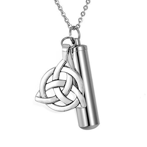 HooAMI Round Celtic Knot Cylinder Cremation Urn Necklace Memorial Keepsake Pendant Ashes Holder - Free Engraving