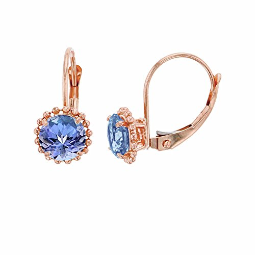 14K Rose Gold 6mm Round Tanzanite Center Stone Bead Frame Leverback Earring
