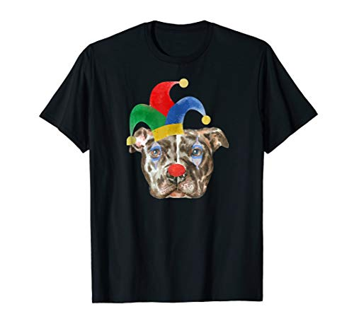 Pitbull in Clown Makeup and Jester Hat -
