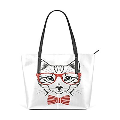 2ad08f63e Womens Leather Top Handle Shoulder Handbag Cute Cat Large Work Tote Bag  durable service
