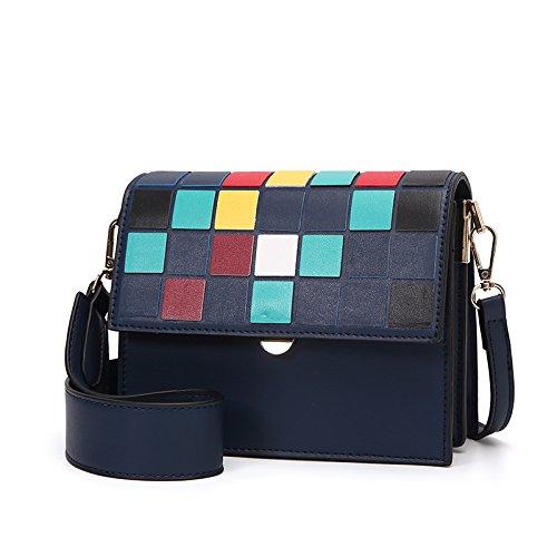 Bolsa Blue Hombro coloreados Bolsa Cube Bolsa Rainbow Multicolores Azul Cuadrada Nuevos Cuadrados Solo Square Lattice Mochila Pequeña CJshop Cuadros ZvOXnqU