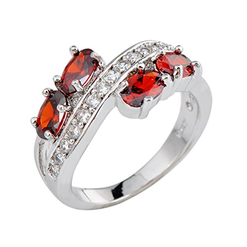 Rongxing Jewelry Ring Size 7 Ovel Red Garnet Women's White Gold Filled Wedding