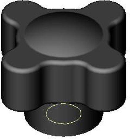1 3/8'' Span, 5/8-11 Tap, Cast Iron Prong Type Short Shank, Hand Knob (1 Each)