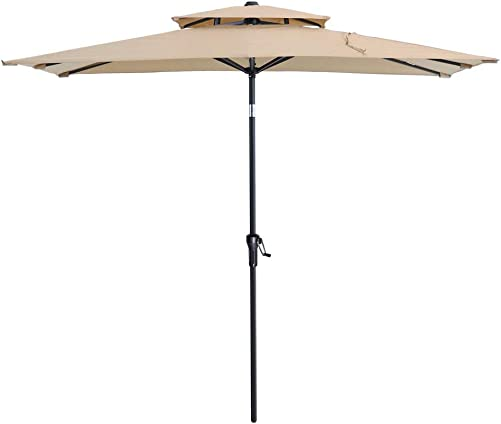 Crestlive Products 500h Fadesafe 10 x 6.5 FT Rectangular Patio Market Umbrella Aluminum Table Umbrella Double Top