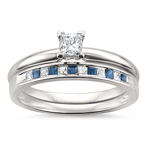 14k White Gold Princess-cut Diamond & Blue Sapphire Wedding Band Ring Set (1/2 cttw, I-J, I2-I3), Size 8