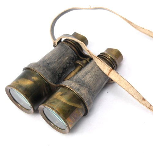 Antique Marine Victorian Binoculars Handmade Buffed Leather Cover Belt, 6 inches, Brass