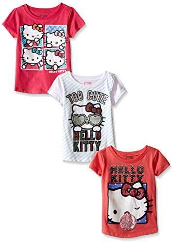 Hello Kitty Little Girls' Toddler Value Pack T-Shirts, Pink/White/Coral,