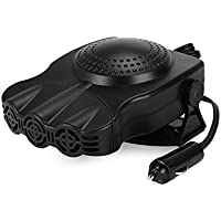 12V Portable In Car Heater Fan Window Defroster Defogger Electric Car Heater Warm Wind Cigarette Socket 150W Black