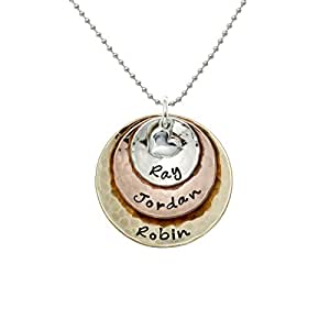 My Three Treasures Personalized Charm Necklace with 925 silver, Copper, and Brass discs. Customized with any Words or Names of your choice. Hand-finished. Gifts for Her, Mother, Grandmother, Wife