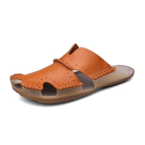 Aliwendy Men Casual Leather Beach Sandals Slippers Non-Slip Closed Toe Outdoor Summer - Close Men