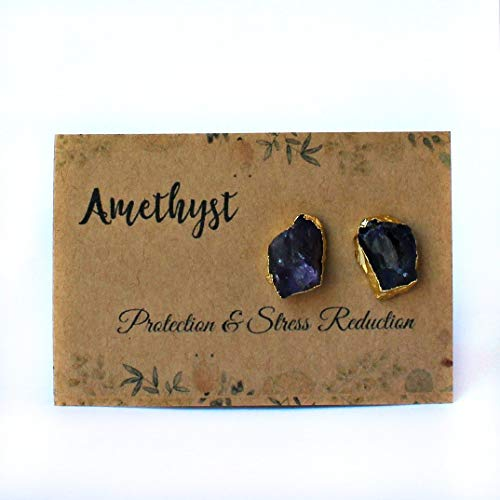 14k Gold Plated Handmade Raw Natural Amethyst Stud - Gemstone 14k Amethyst