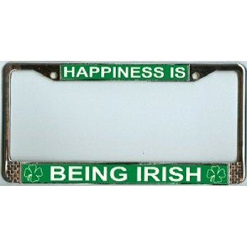 (Happiness is Being Irish Metal License Plate Frame Free Screw Caps with this Frame )