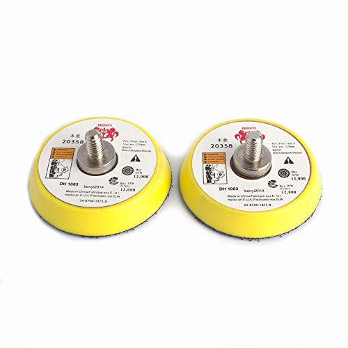 "2Pcs 2"" Hook and Loop Backing Pads for Orbital Sander M6 Threads Polishing Buffing Plate for Dual Action Car Polisher,Thread M6"