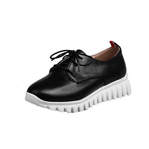 Amoonyfashion Womens Tacco A Spillo Tacco Basso Pompe Solide Scarpe-scarpe Nere