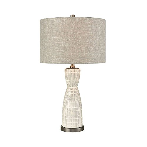 Elk Lighting D3629 Countess of Cork Off-White Glaze and Pewter 24.25 Ceramic and Metal Table Lamp with Round Grey Hard