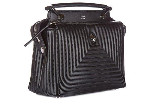 Fendi sac à main femme en cuir dotcom click small shiny noir