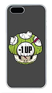 iPhone 5 Case, iPhone 5S Cases - Anti-Scratch Hard Case Cover for iPhone 5/5s Negative Mushroom Stylish Design White Hard Back Case Bumper for iPhone 5/5S