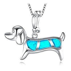 Fortonatori Created Blue Opal Dachshund Necklace Smart 925 Silver Pendant Necklace 18 Chain