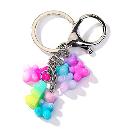 Resin Gummy Bear Keychain Flatback Resin Pendant Charms Resin Keyring For Woman Jewelry as picture1]()
