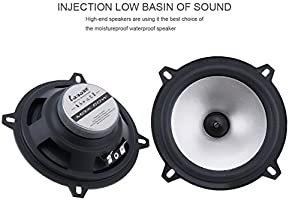 ePathChina 2pcs 5 Inch 60W 2 Way Coaxial Car Speakers Automobile HiFi Full Range Frequency Sensitivity Power Loudspeaker