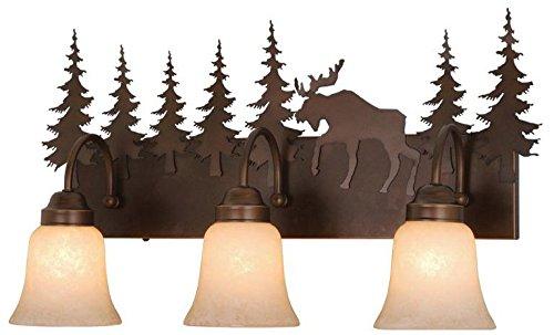 (Vaxcel VL55603BBZ Yellowstone 3 Light Vanity Light, Burnished Bronze Finish)