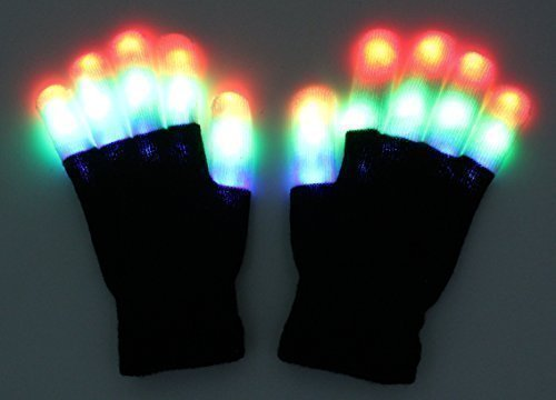 ZICOME Finger Shining Style Party Light Show Gloves - 7 LED Flashing Modes Gloves - The Best Gloving & Lightshow Dancing Gloves for Clubbing, Rave, Birthday, Disco, Dubstep Party & Stage Performances (Gloving Lights)