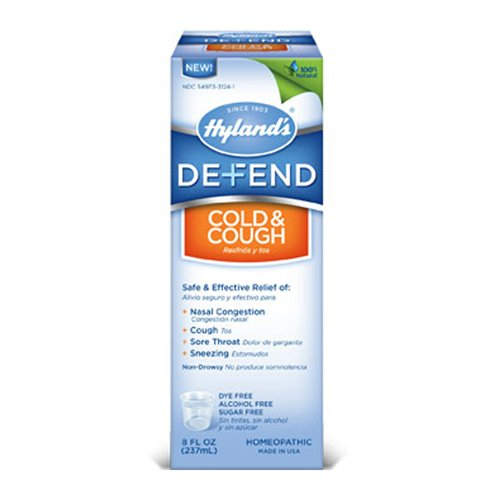 Cough Liquid - Hyland's DEFEND Cold and Cough Liquid, Natural Relief of Nasal Congestion, Cough, Sore Throat, and Sneezing, 4 Ounce