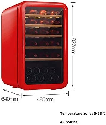 Atten Enfriador de Vino Enfriador de Bebidas Vino Retro Vitrina de Gran Capacidad, Independiente Bodega Nevera Temperatura Ajustable Funcionamiento silencioso (Color : Red)