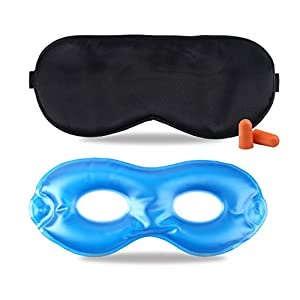 Fitglam Pure Silk Sleep Mask + Reusable Cold / Hot Therapy SPA Gel Eye Mask Set - Improve Sleeping, Alleviate Puffy, Swollen Eyes, Fatigue, Headache and Tension - Best Eye Mask for Men Women (Black)