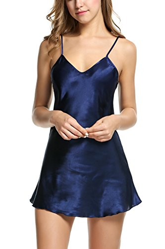 Avidlove Women's Pajamas Satin Nightgown Sexy Mini Slip Sleepwear Dark Blue M ()